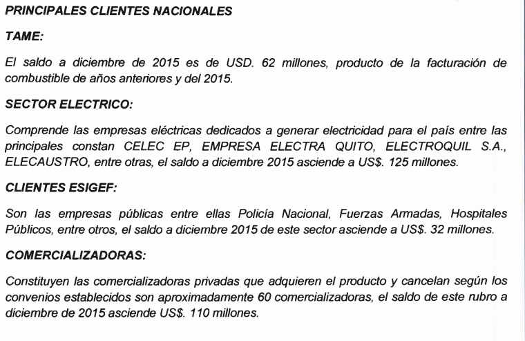 Estado financiero Petroecuador TAME
