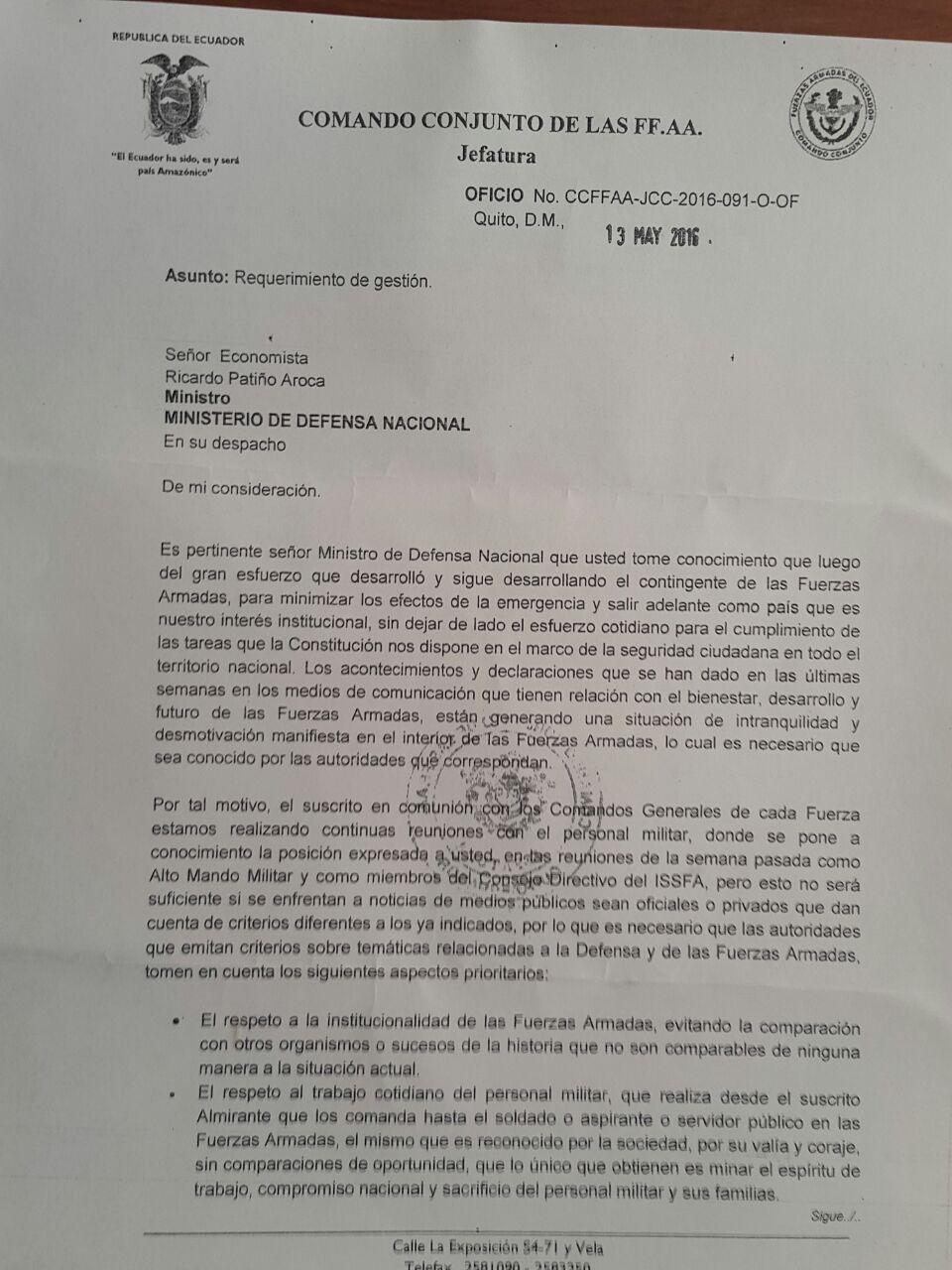 Carta del comandante de las FFAA a Patiño 1