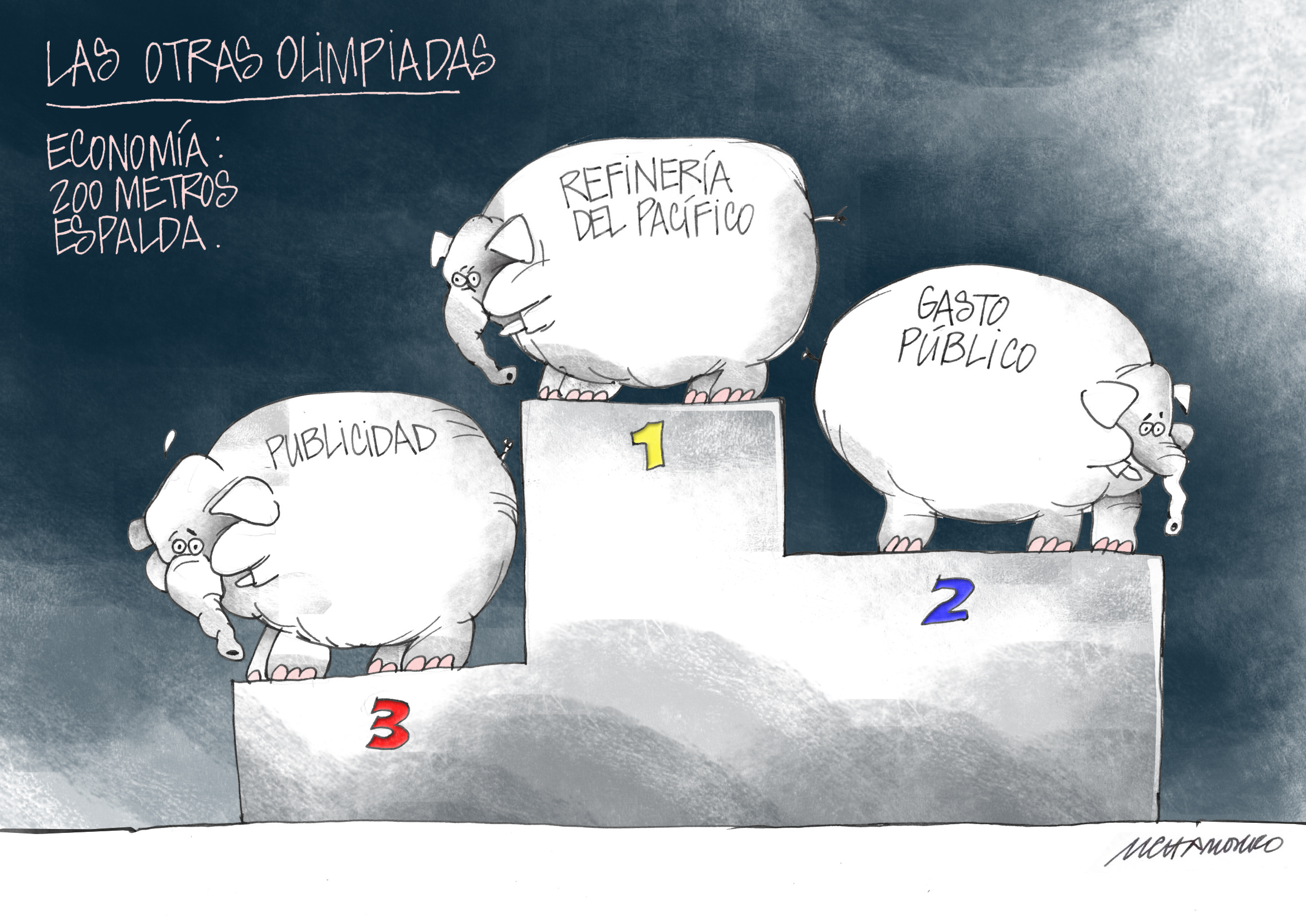 caricatura chamorro olimpiadas.