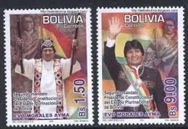 Evo Morales todo un tótem hasta en las estampillas postales.